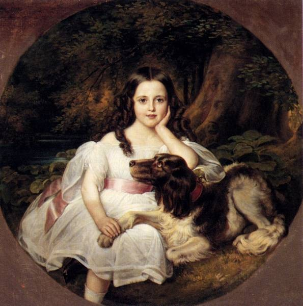 A Young Girl Resting In A Landscape With Her Dog